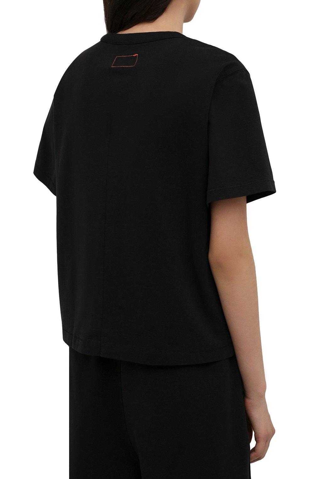 Женская хлопковая футболка HERON PRESTON FOR CALVIN KLEIN черного цвета, арт. K10K108252   Фото 4 (Женское Кросс-КТ: Футболка-спорт; Принт: Без принта; Рукава: Короткие; Длина (для топов): Стандартные; Материал внешний: Хлопок; Стили: Спорт-шик)