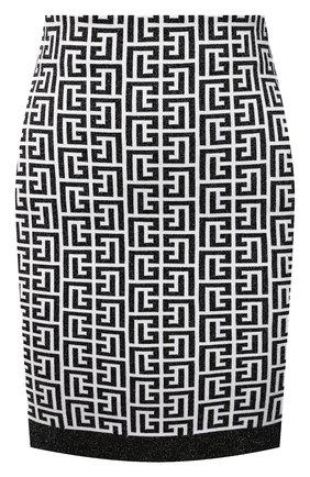 Женская юбка BALMAIN черно-белого цвета, арт. WF1LB005/K272 | Фото 1