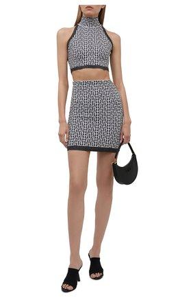 Женская юбка BALMAIN черно-белого цвета, арт. WF1LB005/K272 | Фото 2