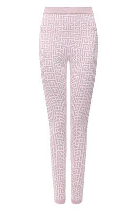 Женские леггинсы BALMAIN светло-розового цвета, арт. WF1PD005/K272 | Фото 1 (Стили: Спорт-шик; Длина (брюки, джинсы): Стандартные; Женское Кросс-КТ: Леггинсы-одежда; Кросс-КТ: Трикотаж; Материал внешний: Вискоза)