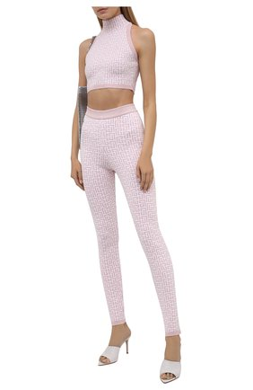 Женские леггинсы BALMAIN светло-розового цвета, арт. WF1PD005/K272 | Фото 2 (Стили: Спорт-шик; Длина (брюки, джинсы): Стандартные; Женское Кросс-КТ: Леггинсы-одежда; Кросс-КТ: Трикотаж; Материал внешний: Вискоза)
