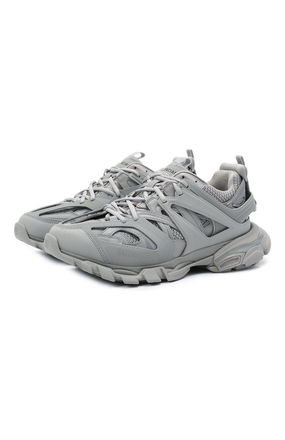 Мужские комбинированные кроссовки track BALENCIAGA серого цвета, арт. 542023/W2LA1   Фото 1 (Материал внешний: Текстиль; Стили: Гранж; Материал внутренний: Текстиль; Подошва: Массивная)