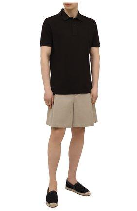 Мужские текстильные эспадрильи FENDI черного цвета, арт. 7P1409 AF5U | Фото 2