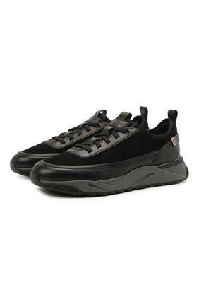 Мужские комбинированные кроссовки SANTONI черного цвета, арт. MBI021534ANERHPRN01   Фото 1