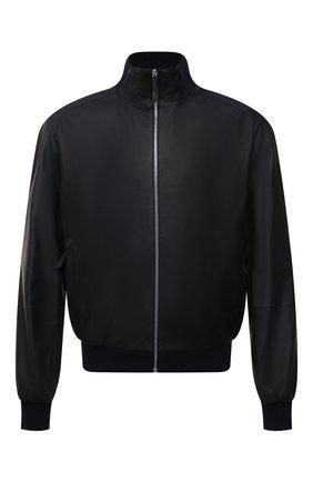 Мужской кожаный бомбер ANDREA CAMPAGNA темно-синего цвета, арт. 60400E1652600 | Фото 1 (Стили: Классический; Принт: Без принта; Мужское Кросс-КТ: Кожа и замша; Материал подклада: Шелк; Кросс-КТ: Куртка; Длина (верхняя одежда): Короткие; Рукава: Длинные)
