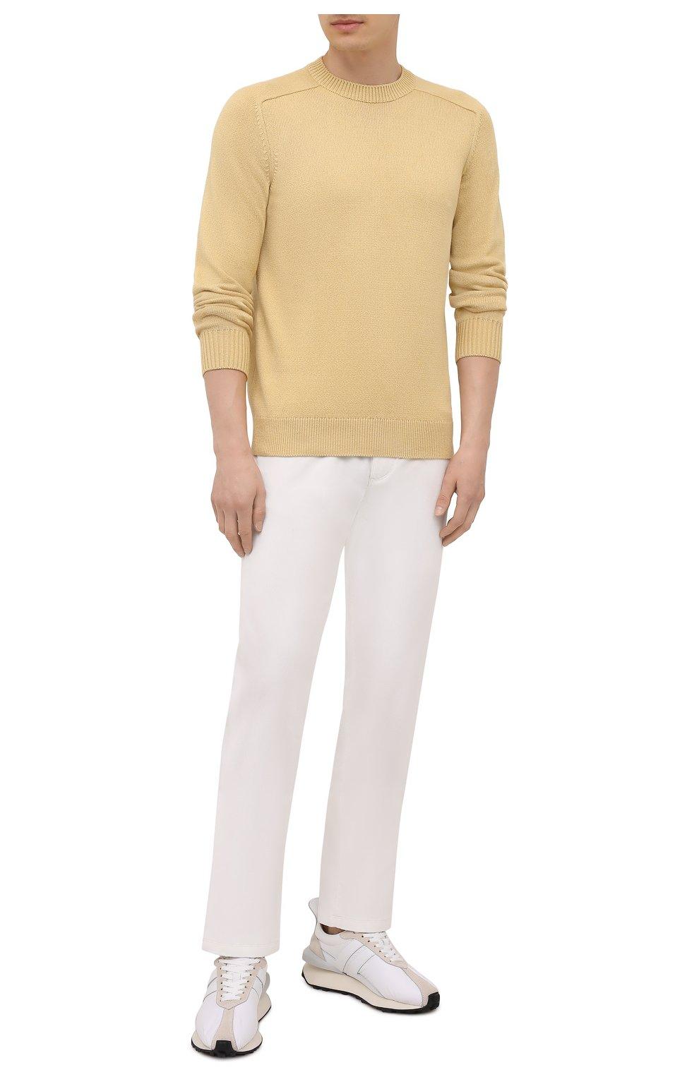 Мужские хлопковые брюки LORO PIANA белого цвета, арт. FAI2480 | Фото 2