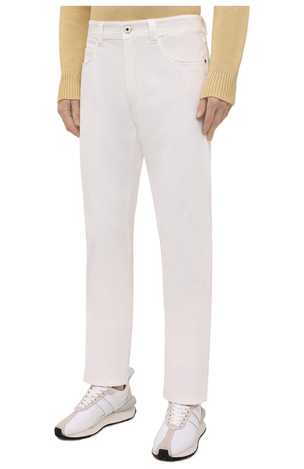 Мужские хлопковые брюки LORO PIANA белого цвета, арт. FAI2480 | Фото 3
