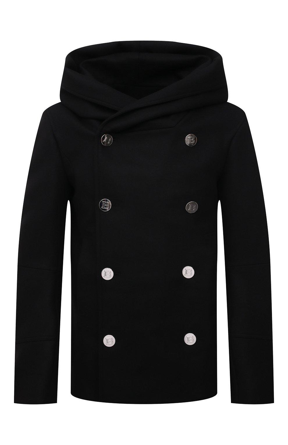 Мужской шерстяной бушлат BALMAIN черного цвета, арт. WH1UA005/W065   Фото 1 (Материал внешний: Шерсть; Рукава: Длинные; Длина (верхняя одежда): Короткие; Мужское Кросс-КТ: пальто-верхняя одежда; Материал подклада: Хлопок; Стили: Кэжуэл)