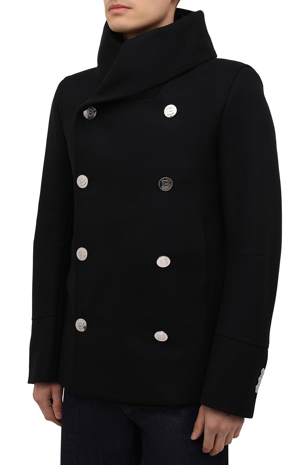 Мужской шерстяной бушлат BALMAIN черного цвета, арт. WH1UA005/W065   Фото 3 (Материал внешний: Шерсть; Рукава: Длинные; Длина (верхняя одежда): Короткие; Мужское Кросс-КТ: пальто-верхняя одежда; Материал подклада: Хлопок; Стили: Кэжуэл)