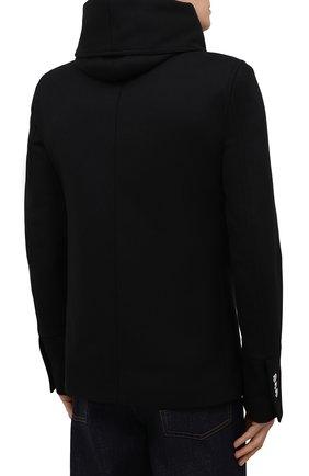 Мужской шерстяной бушлат BALMAIN черного цвета, арт. WH1UA005/W065   Фото 4 (Материал внешний: Шерсть; Рукава: Длинные; Длина (верхняя одежда): Короткие; Мужское Кросс-КТ: пальто-верхняя одежда; Материал подклада: Хлопок; Стили: Кэжуэл)