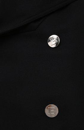 Мужской шерстяной бушлат BALMAIN черного цвета, арт. WH1UA005/W065   Фото 5 (Материал внешний: Шерсть; Рукава: Длинные; Длина (верхняя одежда): Короткие; Мужское Кросс-КТ: пальто-верхняя одежда; Материал подклада: Хлопок; Стили: Кэжуэл)