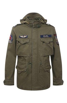 Мужская хлопковая куртка POLO RALPH LAUREN хаки цвета, арт. 710833803 | Фото 1