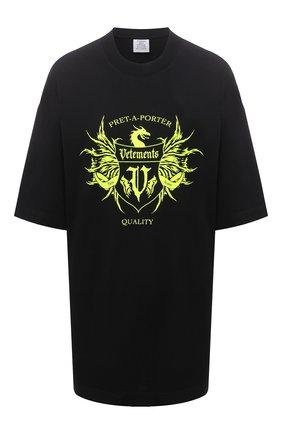 Женская хлопковая футболка VETEMENTS черного цвета, арт. UA52TR480X 1610/W | Фото 1