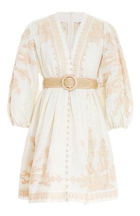 Женское льняное платье ZIMMERMANN кремвого цвета, арт. 9744DEST/ | Фото 1