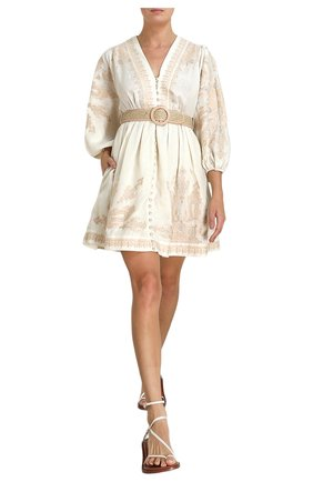 Женское льняное платье ZIMMERMANN кремвого цвета, арт. 9744DEST/ | Фото 2