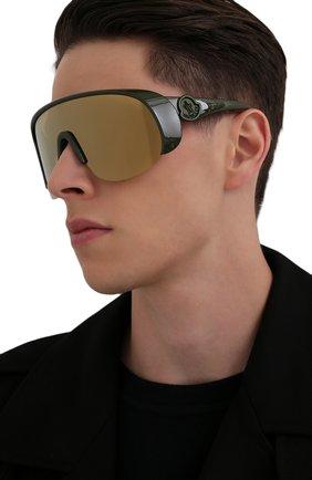 Мужские солнцезащитные очки MONCLER хаки цвета, арт. ML 0202 96G 00 С/З ОЧКИ | Фото 2