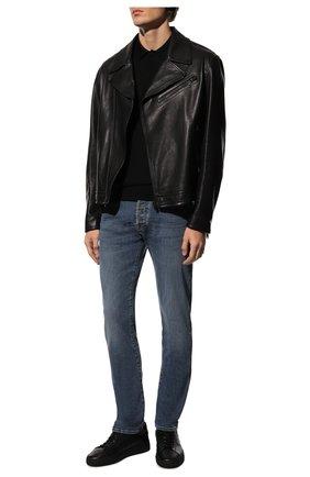 Мужские кожаные кеды SANTONI черного цвета, арт. MBGT21553NE0RNHRN01   Фото 2