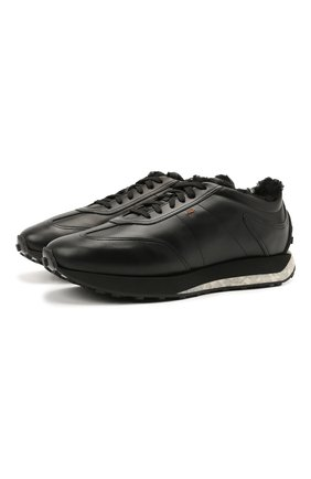 Мужские кожаные кроссовки SANTONI черного цвета, арт. MBNR21581NSNPISCN01 | Фото 1 (Стили: Классический; Подошва: Массивная)