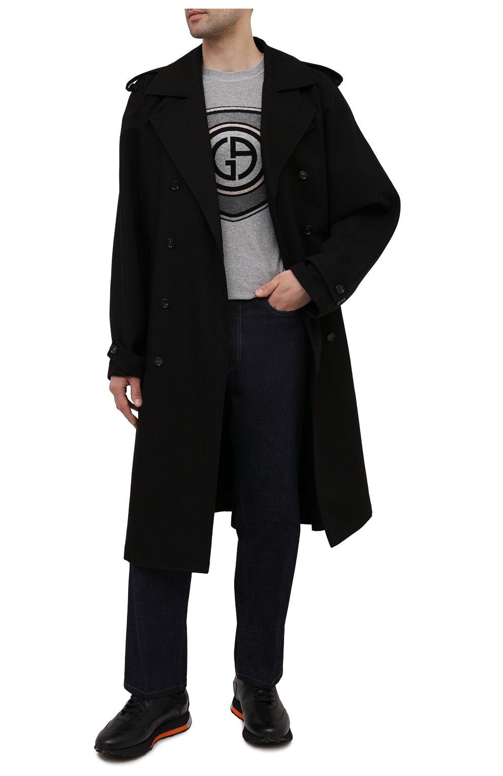 Мужские кожаные кроссовки SANTONI черного цвета, арт. MBNR21581NSNPISCN01 | Фото 2 (Стили: Классический; Подошва: Массивная)