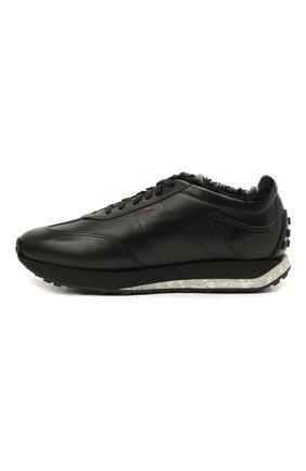 Мужские кожаные кроссовки SANTONI черного цвета, арт. MBNR21581NSNPISCN01 | Фото 3 (Стили: Классический; Подошва: Массивная)
