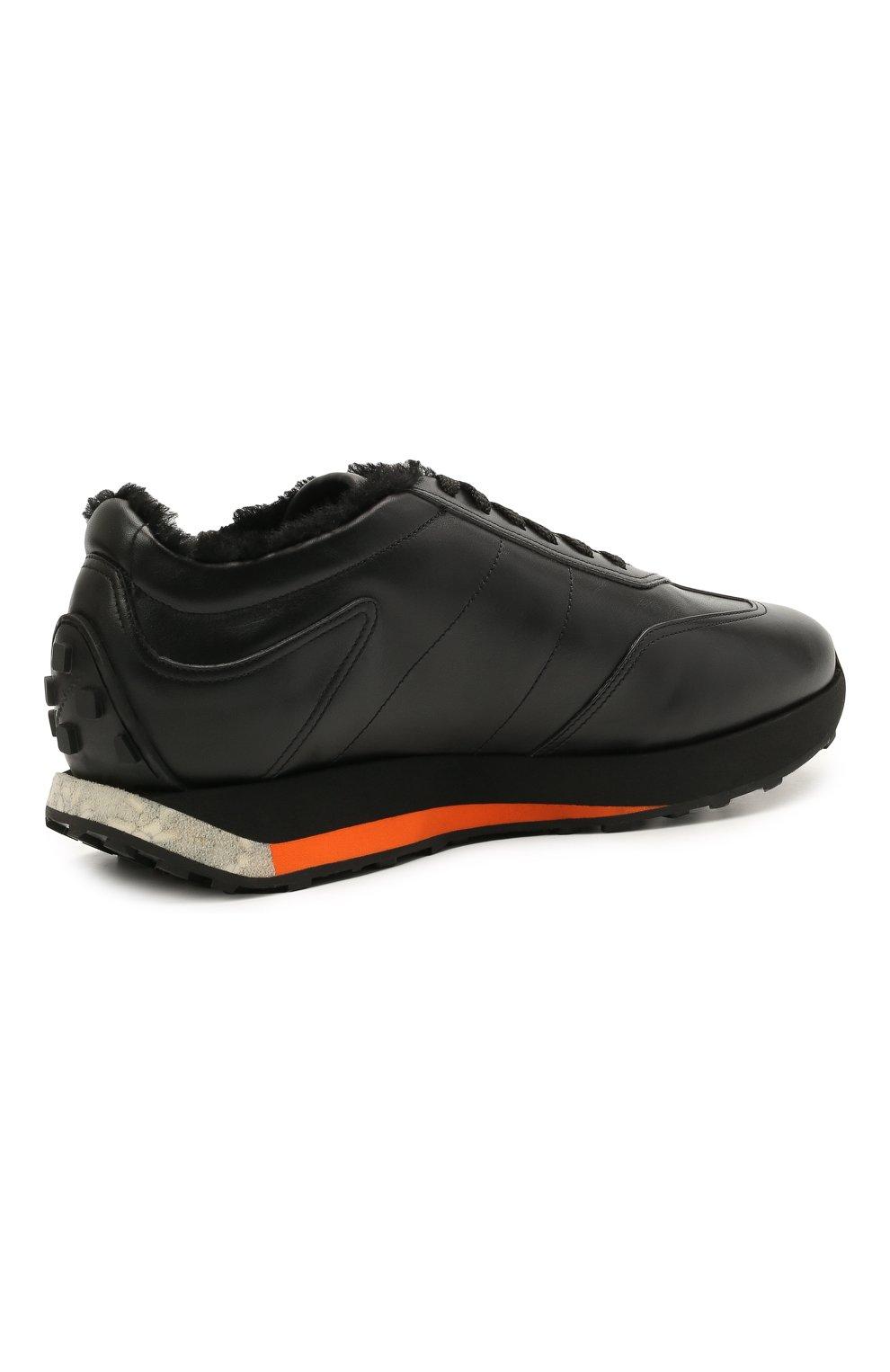 Мужские кожаные кроссовки SANTONI черного цвета, арт. MBNR21581NSNPISCN01 | Фото 4 (Стили: Классический; Подошва: Массивная)