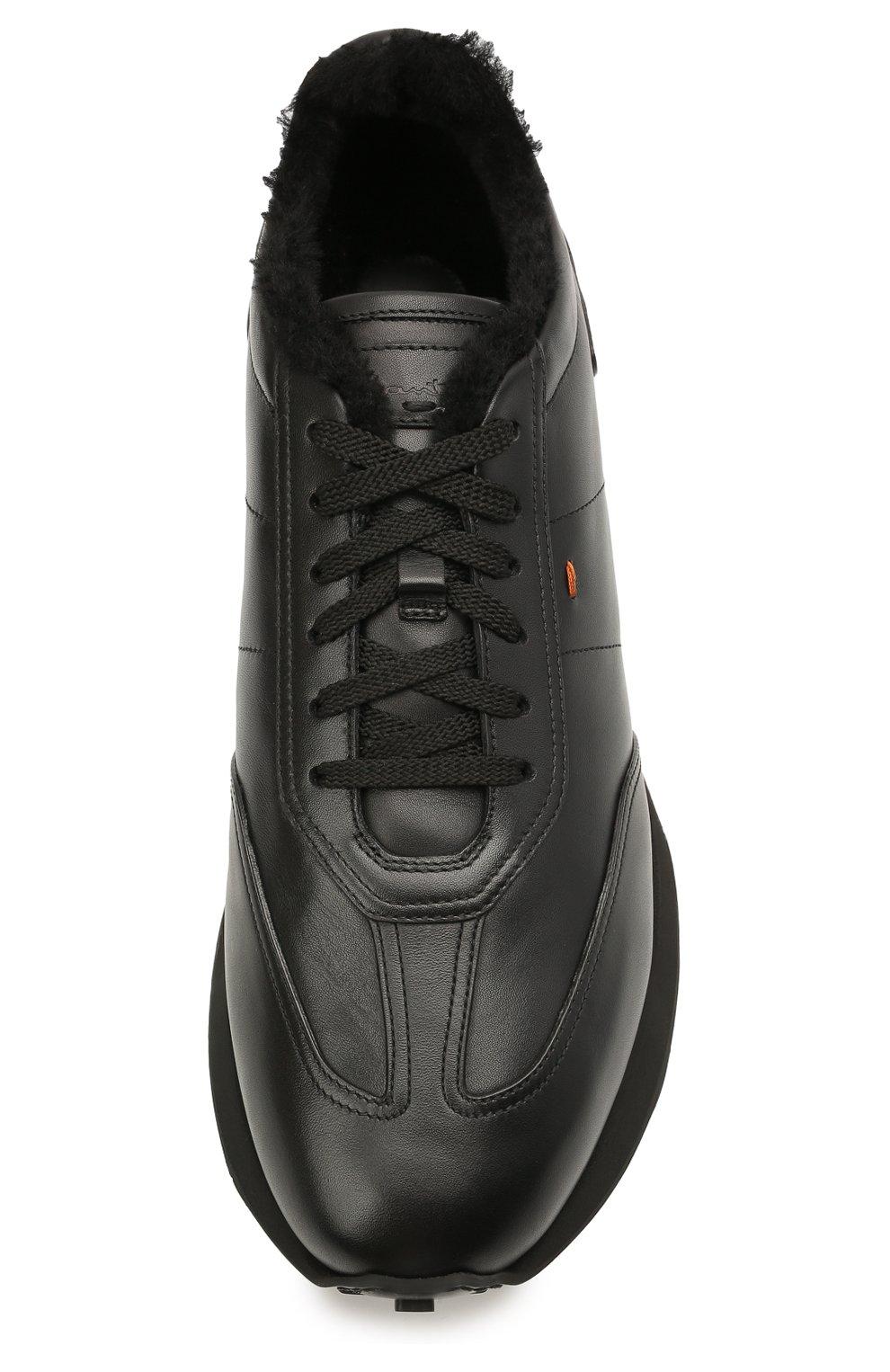 Мужские кожаные кроссовки SANTONI черного цвета, арт. MBNR21581NSNPISCN01 | Фото 5 (Стили: Классический; Подошва: Массивная)