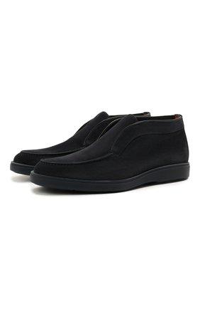 Мужские замшевые ботинки SANTONI темно-синего цвета, арт. MGDG1782300TKSVUU60 | Фото 1