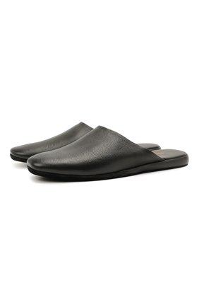 Мужского кожаные домашние туфли SANTONI черного цвета, арт. PMXXA1644XXX1CLBN01 | Фото 1 (Материал внутренний: Натуральная кожа, Текстиль; Мужское Кросс-КТ: тапочки-обувь)