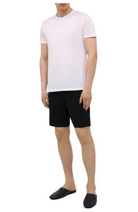 Мужского кожаные домашние туфли SANTONI черного цвета, арт. PMXXA1644XXX1CLBN01 | Фото 2 (Материал внутренний: Натуральная кожа, Текстиль; Мужское Кросс-КТ: тапочки-обувь)