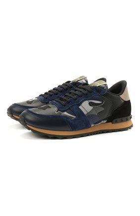 Мужские комбинированные кроссовки rockrunner VALENTINO темно-синего цвета, арт. WY2S0723/XVU | Фото 1