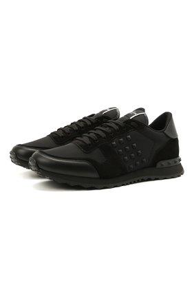 Мужские комбинированные кроссовки rockrunner VALENTINO черного цвета, арт. WY2S0748/VBU | Фото 1