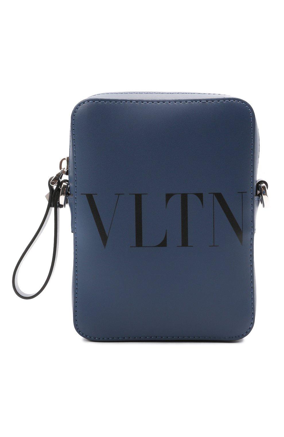 Мужская кожаная сумка VALENTINO темно-синего цвета, арт. WY2B0943/WJW   Фото 1