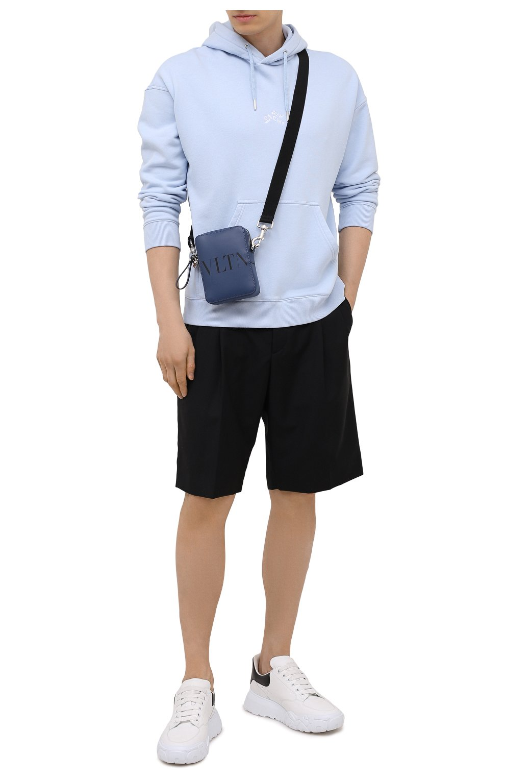Мужская кожаная сумка VALENTINO темно-синего цвета, арт. WY2B0943/WJW   Фото 2
