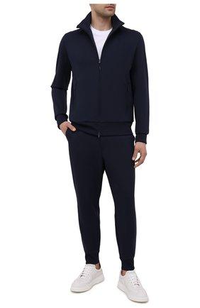 Мужские джоггеры Y-3 темно-синего цвета, арт. FN3386/M | Фото 2 (Длина (брюки, джинсы): Укороченные; Стили: Спорт-шик; Кросс-КТ: Спорт; Материал внешний: Синтетический материал)