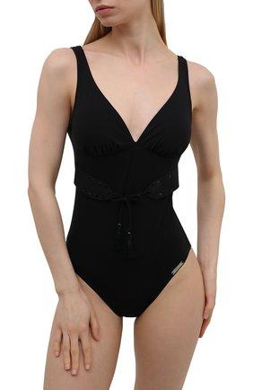 Женский слитный купальник LISE CHARMEL черного цвета, арт. ABB6947 | Фото 2 (Материал внешний: Синтетический материал; Женское Кросс-КТ: Слитные купальники; Длина Ж (юбки, платья, шорты): Мини)