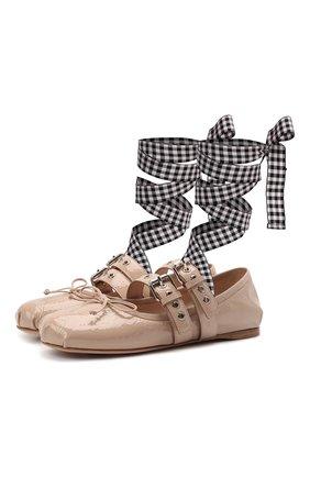 Женские кожаные балетки MIU MIU бежевого цвета, арт. 5F466A/H27   Фото 1