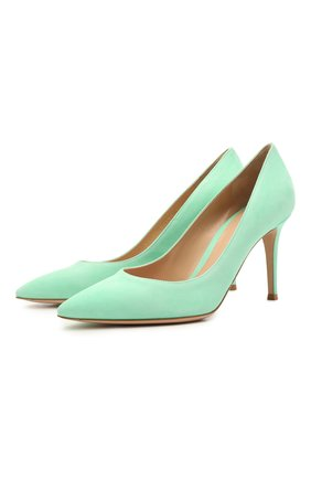 Женские замшевые туфли gianvito 85 GIANVITO ROSSI бирюзового цвета, арт. G24580.85RIC.CAMTIFF | Фото 1