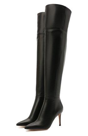 Женские кожаные ботфорты bea cuissard GIANVITO ROSSI черного цвета, арт. G80494.85RIC.NVINER0   Фото 1 (Каблук тип: Шпилька; Высота голенища: Высокие; Каблук высота: Высокий; Материал внутренний: Натуральная кожа; Подошва: Плоская)