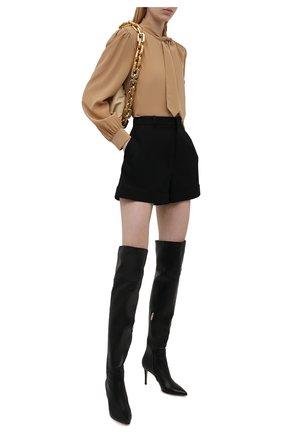 Женские кожаные ботфорты bea cuissard GIANVITO ROSSI черного цвета, арт. G80494.85RIC.NVINER0   Фото 2 (Каблук тип: Шпилька; Высота голенища: Высокие; Каблук высота: Высокий; Материал внутренний: Натуральная кожа; Подошва: Плоская)