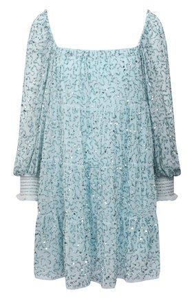 Женское платье с пайетками ALICE + OLIVIA голубого цвета, арт. CC104E60537   Фото 1