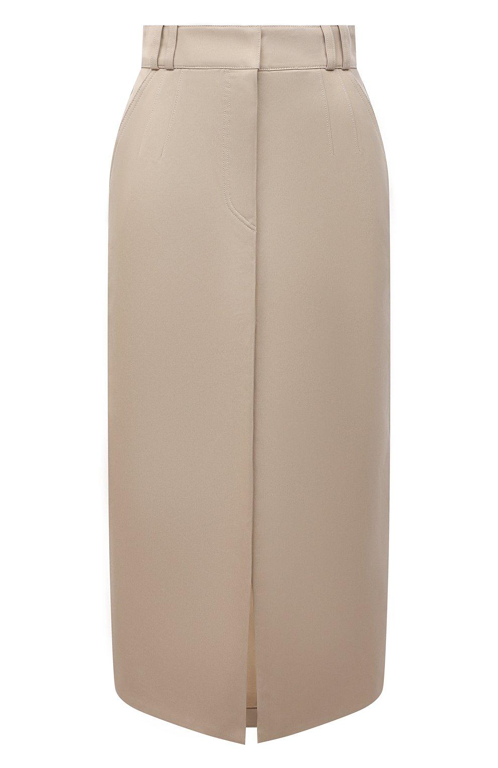 Женская хлопковая юбка PACO RABANNE бежевого цвета, арт. 21ECJU204C00229   Фото 1 (Женское Кросс-КТ: Юбка-одежда; Материал внешний: Хлопок; Длина Ж (юбки, платья, шорты): Миди; Материал подклада: Хлопок; Стили: Кэжуэл)