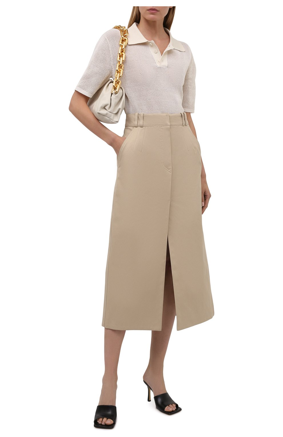 Женская хлопковая юбка PACO RABANNE бежевого цвета, арт. 21ECJU204C00229   Фото 2 (Женское Кросс-КТ: Юбка-одежда; Материал внешний: Хлопок; Длина Ж (юбки, платья, шорты): Миди; Материал подклада: Хлопок; Стили: Кэжуэл)