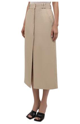 Женская хлопковая юбка PACO RABANNE бежевого цвета, арт. 21ECJU204C00229   Фото 3 (Женское Кросс-КТ: Юбка-одежда; Материал внешний: Хлопок; Длина Ж (юбки, платья, шорты): Миди; Материал подклада: Хлопок; Стили: Кэжуэл)