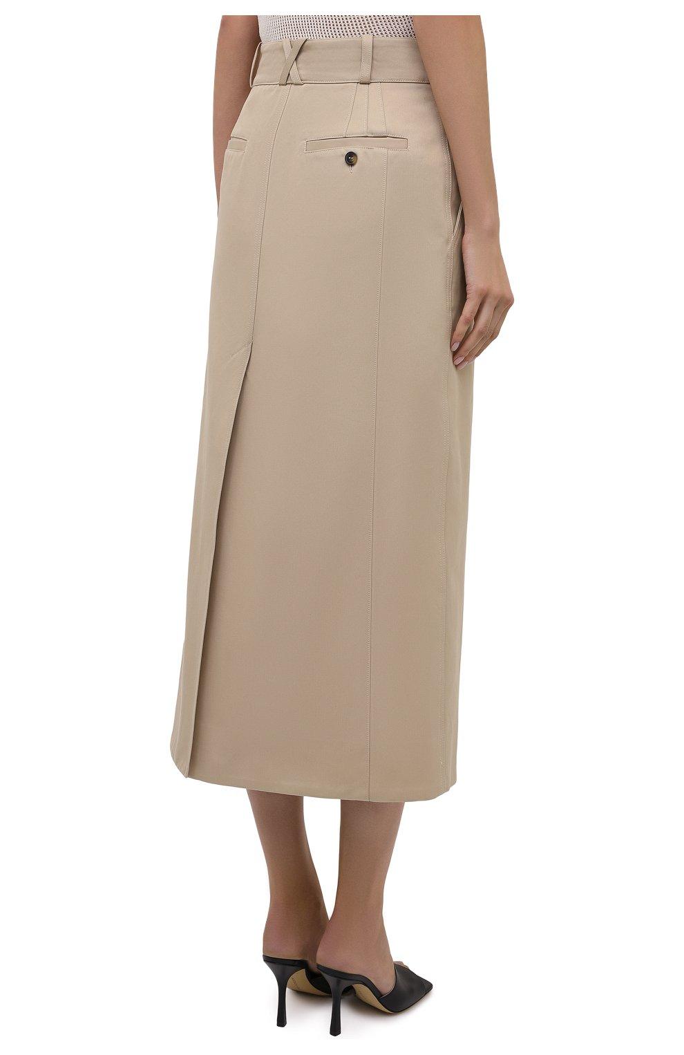Женская хлопковая юбка PACO RABANNE бежевого цвета, арт. 21ECJU204C00229   Фото 4 (Женское Кросс-КТ: Юбка-одежда; Материал внешний: Хлопок; Длина Ж (юбки, платья, шорты): Миди; Материал подклада: Хлопок; Стили: Кэжуэл)
