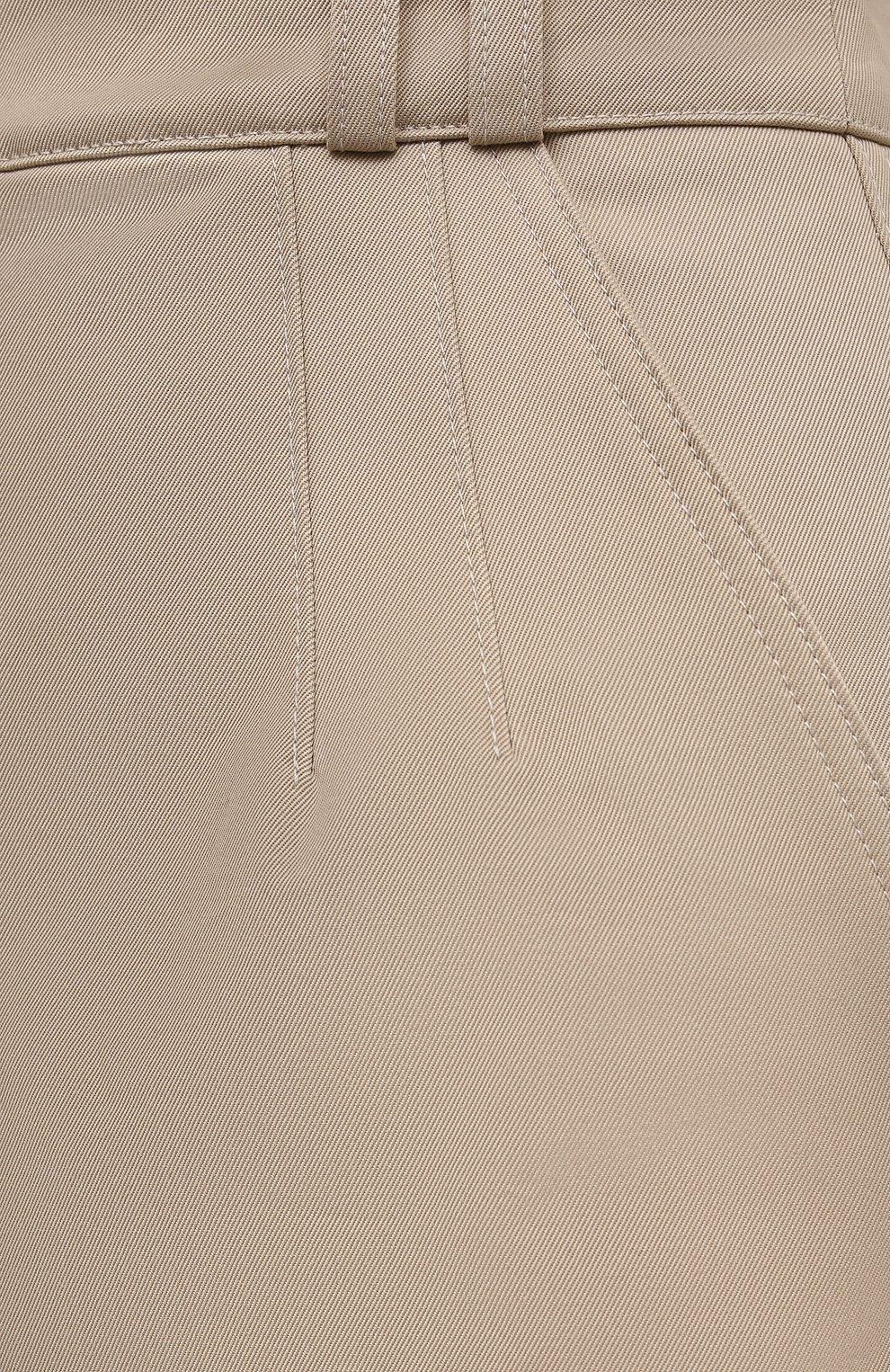 Женская хлопковая юбка PACO RABANNE бежевого цвета, арт. 21ECJU204C00229   Фото 5 (Женское Кросс-КТ: Юбка-одежда; Материал внешний: Хлопок; Длина Ж (юбки, платья, шорты): Миди; Материал подклада: Хлопок; Стили: Кэжуэл)