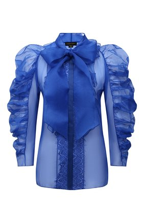 Женская шелковая блузка ZUHAIR MURAD синего цвета, арт. SHS21308/0RSI004 | Фото 1