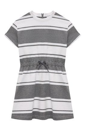 Детское хлопковое платье BRUNELLO CUCINELLI серого цвета, арт. BH981A005A | Фото 1 (Материал внешний: Хлопок; Случай: Повседневный; Рукава: Короткие; Ростовка одежда: 6 лет | 116 см, 4 года | 104 см)