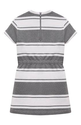 Детское хлопковое платье BRUNELLO CUCINELLI серого цвета, арт. BH981A005A | Фото 2 (Материал внешний: Хлопок; Случай: Повседневный; Рукава: Короткие; Ростовка одежда: 6 лет | 116 см, 4 года | 104 см)