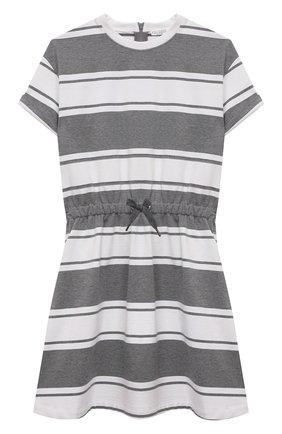 Детское хлопковое платье BRUNELLO CUCINELLI серого цвета, арт. BH981A005C | Фото 1