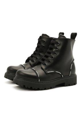 Детские кожаные ботинки DSQUARED2 черного цвета, арт. 68587/RUNNER/28-35 | Фото 1